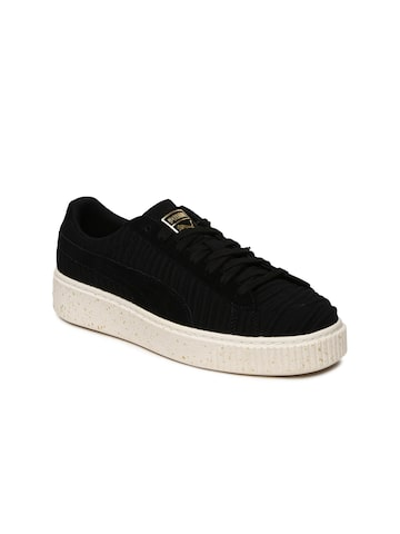 Puma Women Black Basket Platform Sneakers Puma Casual Shoes at myntra