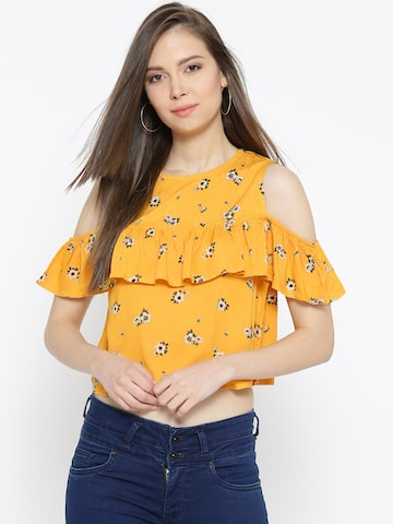 Pepe Jeans Women Yellow Printed Crop Top Pepe Jeans Tops at myntra