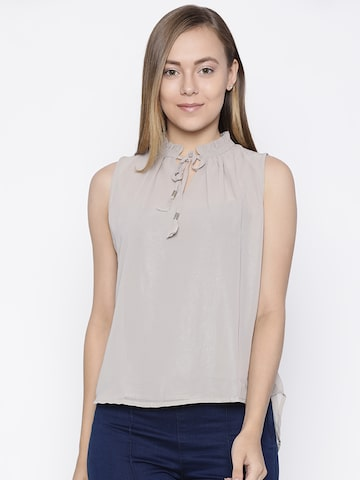 Pepe Jeans Women Taupe Solid Top Pepe Jeans Tops at myntra