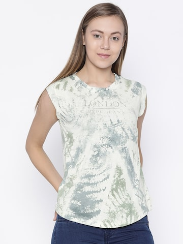 Pepe Jeans Women Off-White Printed Round Neck T-shirt Pepe Jeans Tshirts at myntra
