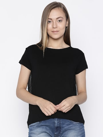 Pepe Jeans Women Black Solid High-Low Top Pepe Jeans Tops at myntra