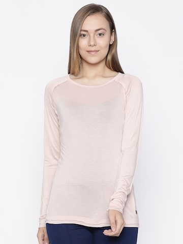 Pepe Jeans Women Peach-Coloured Solid Round Neck T-shirt Pepe Jeans Tshirts at myntra