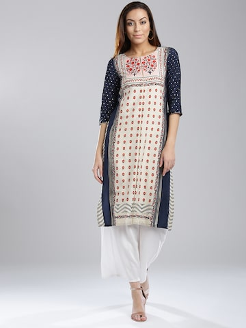 W Women Navy & Off-White Printed Straight Kurta W Kurtas at myntra