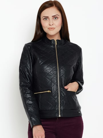 Duke Women Black Solid Quilted Jacket Duke Jackets at myntra