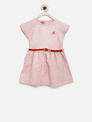 UFO Girls Pink Self Design Fit and Flare Dress UFO Dresses at myntra