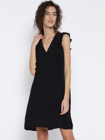 MANGO Women Black Solid A-Line Dress MANGO Dresses at myntra