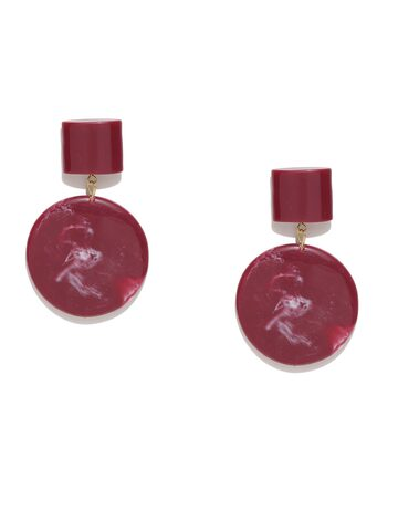 MANGO Red Circular Drop Earrings MANGO Earrings at myntra