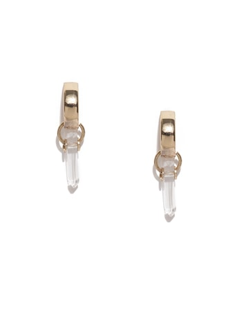 MANGO Gold-Toned & White Geometric Studs MANGO Earrings at myntra