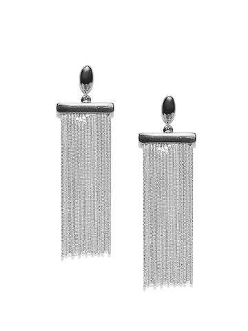 MANGO Silver-Toned Tasselled Drop Earrings MANGO Earrings at myntra