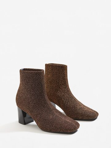 MANGO Women Brown Shimmer Heeled Boots MANGO Heels at myntra