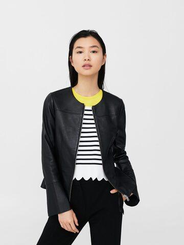 MANGO Women Black Solid Collarless Leather Jacket MANGO Jackets at myntra