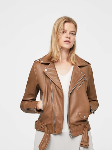 MANGO Women Brown Solid Asymmetric Closure Biker Jacket MANGO Jackets at myntra