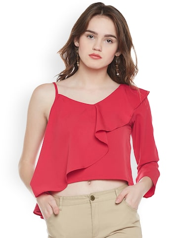 Popnetic Women Red Solid Crop Top Popnetic Tops at myntra