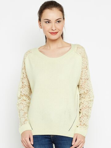 Jealous 21 Women Cream-Coloured Lace Sleeve Sweater Jealous 21 Sweaters at myntra