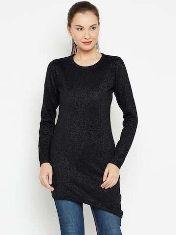 Jealous 21 Women Black Shimmer Longline Sweater Jealous 21 Sweaters at myntra