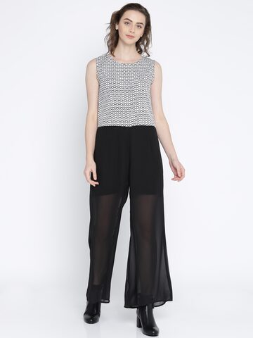 Jealous 21 Black & White Printed Basic Jumpsuit Jealous 21 Jumpsuit at myntra