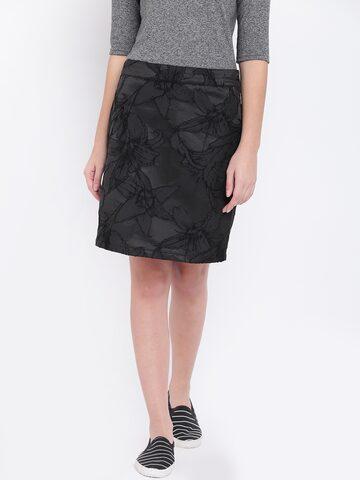 Jealous 21 Black Self-Design Pencil Skirt Jealous 21 Skirts at myntra