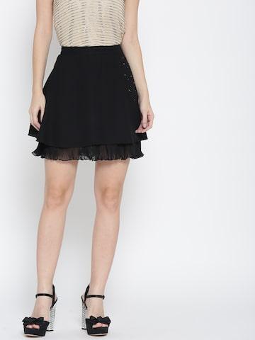 Jealous 21 Black Embellished Layered A-Line Skirt Jealous 21 Skirts at myntra