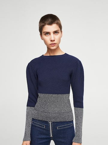 MANGO Women Navy Blue & Silver Colourblocked Sweater MANGO Sweaters at myntra