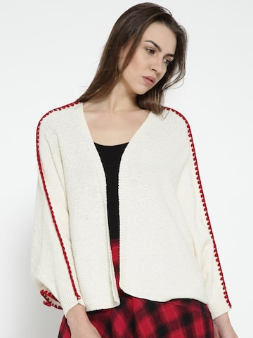 MANGO Women Cream-Coloured Solid Front-Open Cardigan MANGO Sweaters at myntra