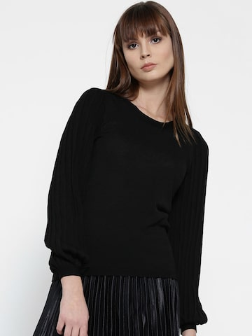 MANGO Women Black Solid Pullover MANGO Sweaters at myntra