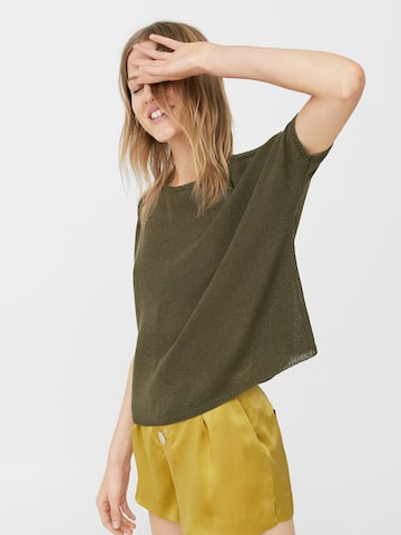 MANGO Women Olive Green Solid Boxy Top MANGO Tops at myntra