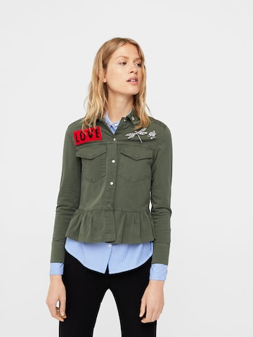 MANGO Women Olive Green Embellished Detail Casual Shirt MANGO Shirts at myntra