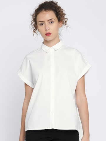 MANGO Women White Regular Fit Solid Casual Shirt MANGO Shirts at myntra