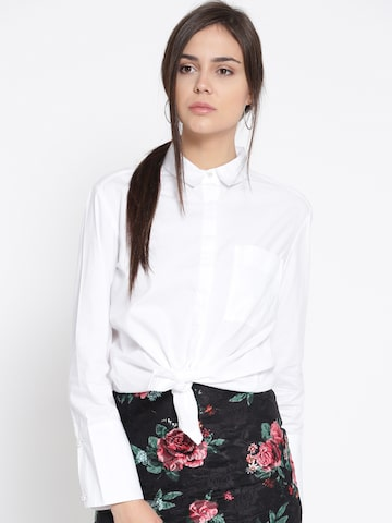 MANGO Women White Solid Casual Shirt MANGO Shirts at myntra