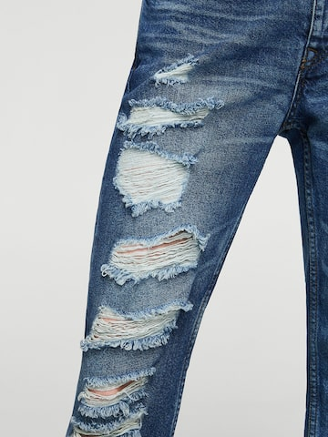 MANGO Women Blue Regular Fit Mid-Rise Highly Distressed Jeans MANGO Jeans at myntra