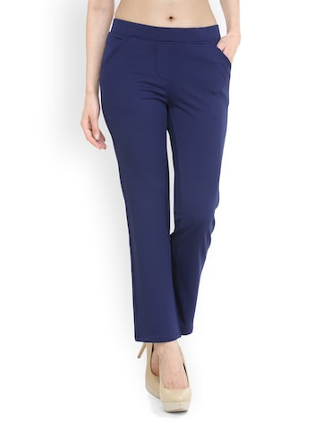 Westwood Women Blue Comfort Fit Solid Trousers Westwood Trousers at myntra