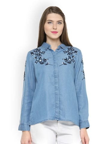 Gipsy Women Blue Comfort Regular Fit Solid Casual Shirt Gipsy Shirts at myntra
