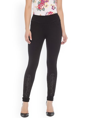 Xblues Black Skinny Fit Treggings with Embroidery Xblues Jeggings at myntra