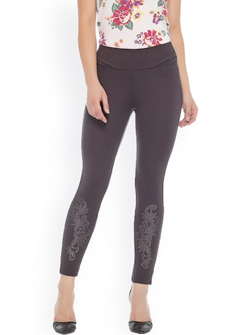 Xblues Grey Skinny Fit Treggings with Embroidery Xblues Jeggings at myntra
