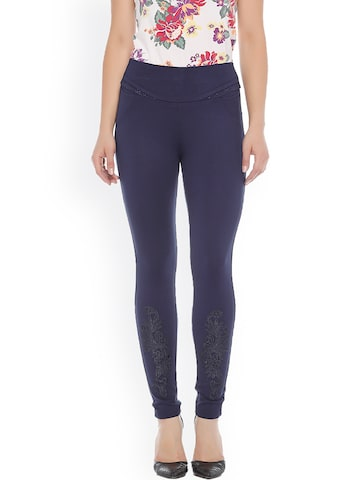 Xblues Navy Skinny Fit Treggings with Embroidery Xblues Jeggings at myntra