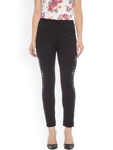 Xblues Black Skinny Fit Treggings with Printed Detail Xblues Jeggings at myntra