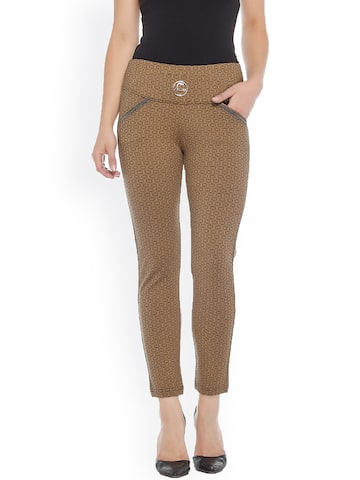 Xblues Khaki Printed Skinny Fit Treggings Xblues Jeggings at myntra