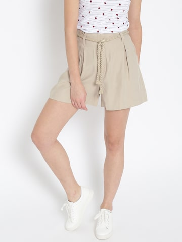 MANGO Women Beige Solid Casual Shorts MANGO Shorts at myntra