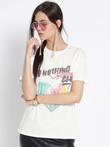 MANGO Women White Printed Round Neck T-shirt MANGO Tshirts at myntra