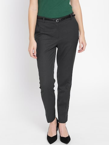 MANGO Women Charcoal Grey Regular Fit Solid Casual Trousers MANGO Trousers at myntra