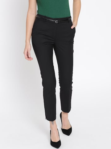 MANGO Women Black Regular Fit Solid Casual Trousers MANGO Trousers at myntra
