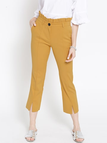 MANGO Women Mustard Yellow Cropped Casual Trousers MANGO Trousers at myntra