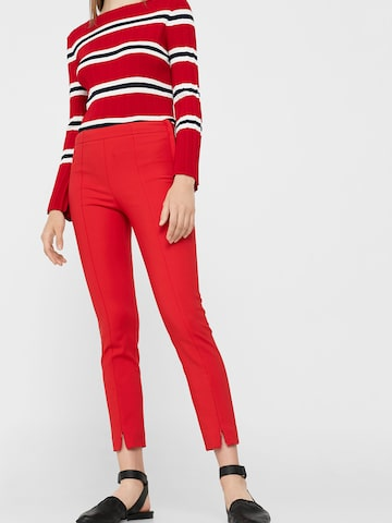 MANGO Women Red Slim Fit Solid Cigarette Trousers MANGO Trousers at myntra