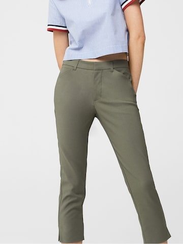 MANGO Women Olive Green Solid Cropped Trousers MANGO Trousers at myntra