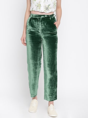 MANGO Women Green Regular Fit Solid Trousers MANGO Trousers at myntra