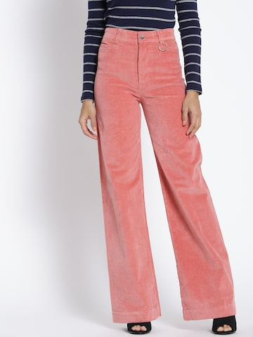 MANGO Women Pink Regular Fit Solid Corduroy Parallel Trousers MANGO Trousers at myntra