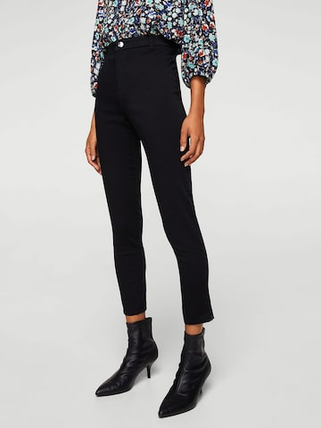 MANGO Women Black Solid Ankle-Length Trousers MANGO Trousers at myntra