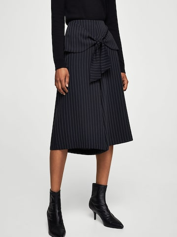 MANGO Women Navy Blue Regular Fit Pinstriped Culottes MANGO Trousers at myntra