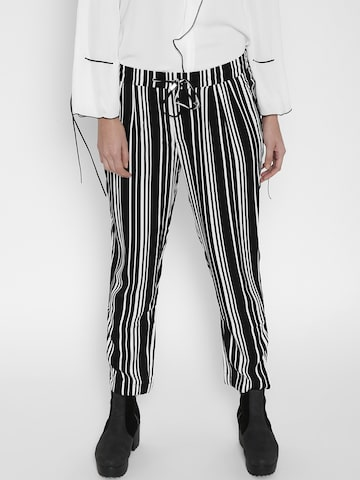 MANGO Women Black & White Striped Casual Trousers MANGO Trousers at myntra