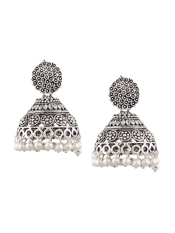 Sia Art Jewellery Silver-Toned Dome Shaped Jhumkas Sia Art Jewellery Earrings at myntra